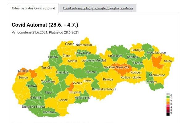 Aktuálna covid mapa Slovenska.