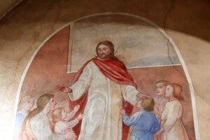 Obraz vkostole – Ježiš medzi deťmi, ktoré majú tváre dievčat zValče.
