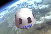 Ilustračné foto kapsuly Blue Origin na hranici atmosféry a kozmu.