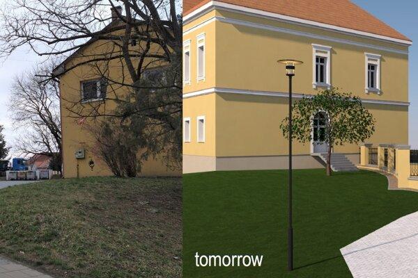 Súčasná a plánovaná podoba vstupu do mestského parku vo Fiľakove.