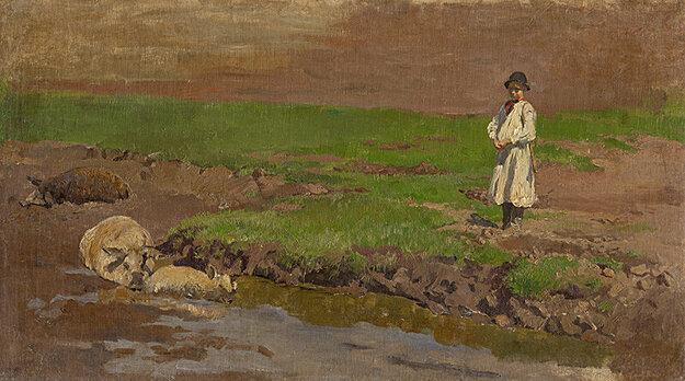 Ladislav Mednyánszky:Pastier svíň, okolo roku 1875.