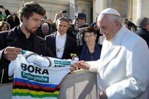 Peter Sagan a pápež František sa stretli v roku 2018. Uplynulé dni strávili na striedačku v Košiciach.