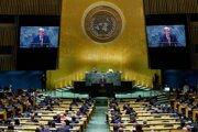 Na snímke generálny tajomník Organizácie Spojených národov António Guterres reční na 76. Valnom zhromaždení.