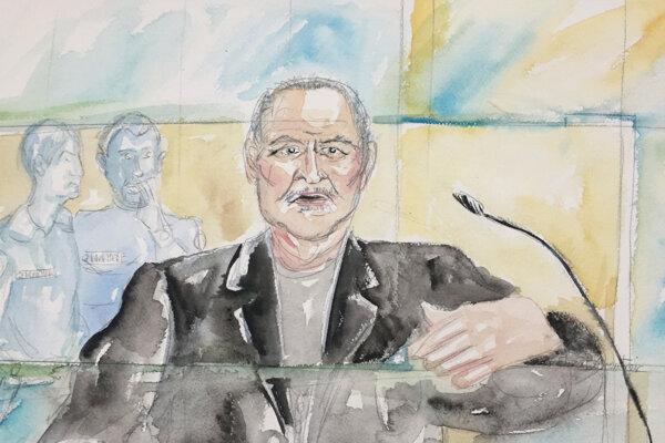 Na kresbe zo súdnej siene je  venezuelský terorista Iljič Ramírez Sánchez v súdnej sieni v Paríži v utorok 28. marca 2017.