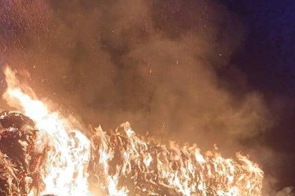 Požiar stohu vo Vlčkovciach
