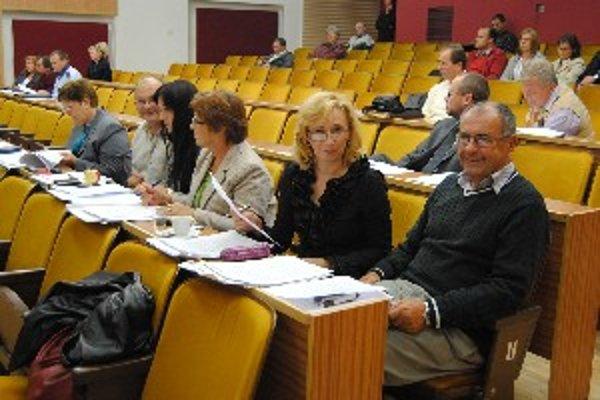 Vrábeľskí poslanci počas diskusie na mestskom zastupiteľstve.