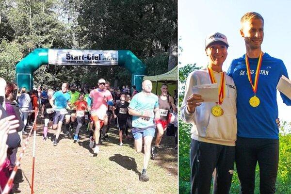 Vľavo štart behu na 3,4 km. Vpravo absolútni víťazi na 10,6 km - Zuzana Polohová a Matúš Kompas.