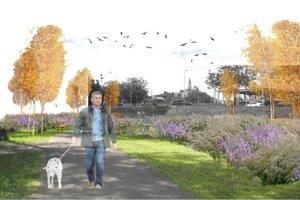 Táto vizualizácia vznikla v čase, keď ešte nebola dostavená Promenada Living Park (vzadu vidieť skelet).