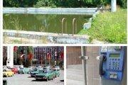 Plaváreň na sídlisku, parkovanie pred Družbou, verejný telefónny autom pred Priorom.