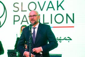 Minister hospodárstva Richard Sulík (SaS) počas slávnostnej prezentácie slovenského pavilónu na Svetovej výstave Expo Dubaj 2020.