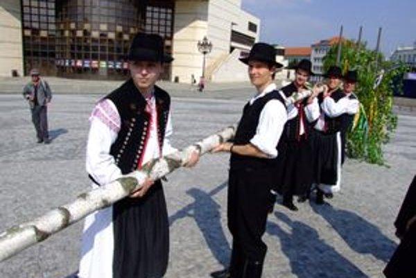 Máj v Nitre má dvanásť metrov. Ľuboš Topor (vpravo) postavil máje viacerým svojim expriateľkám.