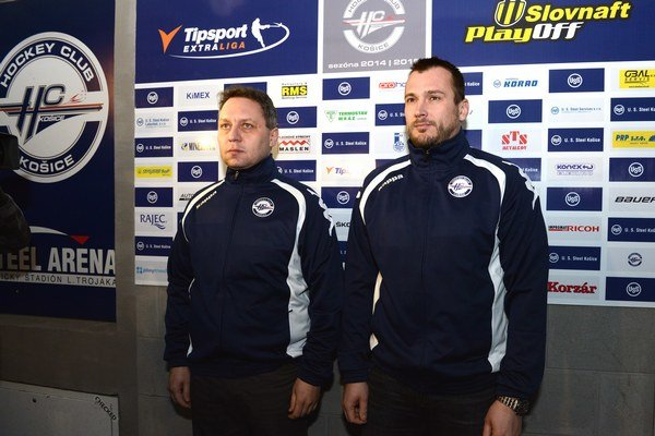 Roman Šimíček (vpravo) pracoval naposledy ako asistent Petra Oremusa v HC Košice.