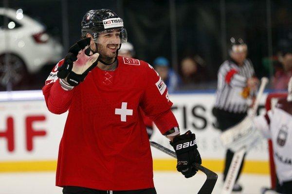 Denis Hollenstein strelil víťazný gól Švajčiarska v zápase proti Bielorusku.