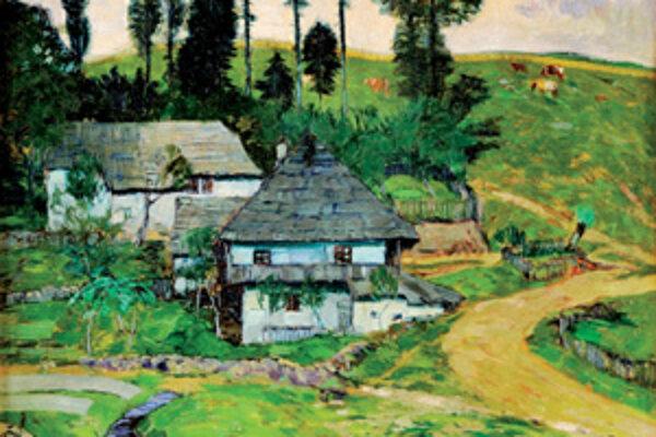 Olejomaľba Juhočeská krajina od Martina Benku. Na 83. zimnej aukcii výtvarných diel a starožitností ju vydražili za 685 000 korún (22,7 tis. eur).