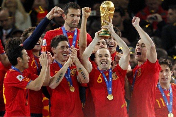 Španieli po zisku titulu majstrov sveta v roku 2010.
