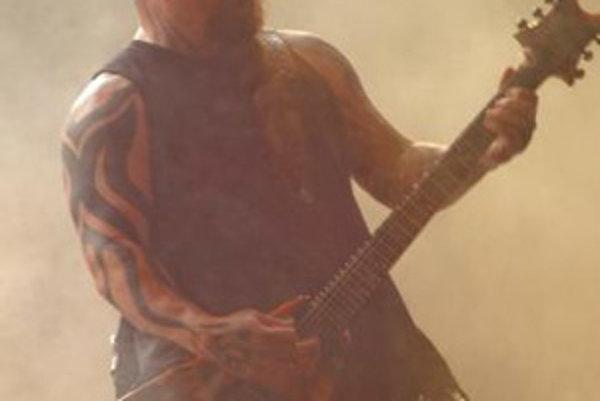Americká rocková kapela Slayer počas jubilejného 5. ročníka rockového festivalu Topfest na Zelenej vode pri Novom meste nad Váhom.