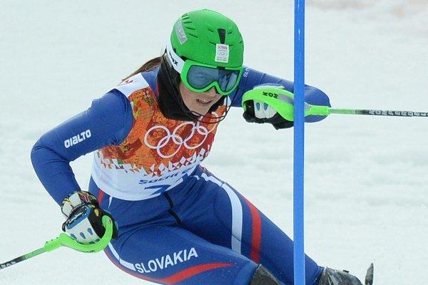 Slovenka Petra Vlhová počas prvého kola slalomu na olympiáde.