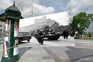Bratislava, Hurbanovo námestie, rok 1968. Pôvodná fotografia: ÚPN