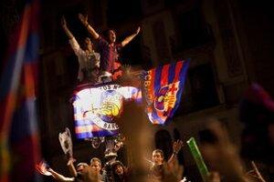 Oslavy titulu v Lige majstrov v Barcelone.