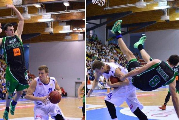 Hrozivý pád hráča BC Prievidza.