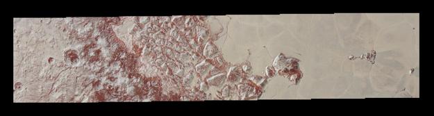 Snímka s dosiaľ najväčším rozlíšením ukazuje duny, dávne pobrežie zmenšujúceho sa ľadového jazera i roztrieštené ľadové hory so strmými útesmi.
