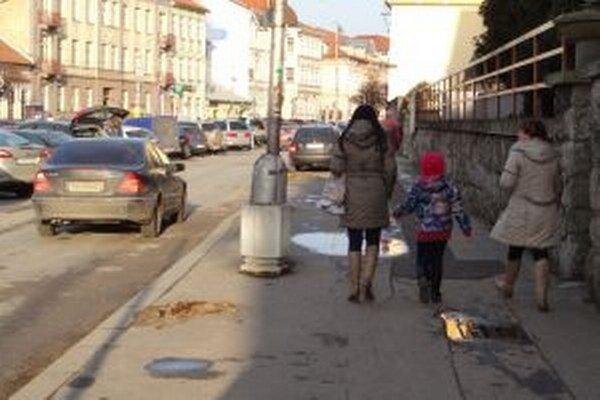 Ľuďom pred piaristickým gymnáziom stromy prekážali pri prechode cez chodník.