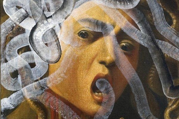 Inú chuť má človek maľovať, keď má štyridsať, ako keď má šesťdesiat, povedal pred pár rokmi v rozhovore pre SME Rudolf Fila. Dokazujú to aj jeho rôzne tvorivé obdobia. Na snímke Gorgonská tvár (1977, olej na plátne)