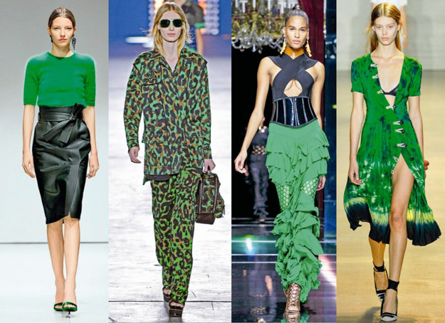 Zľava: Escada, Versace, Balmain, Altuzarra