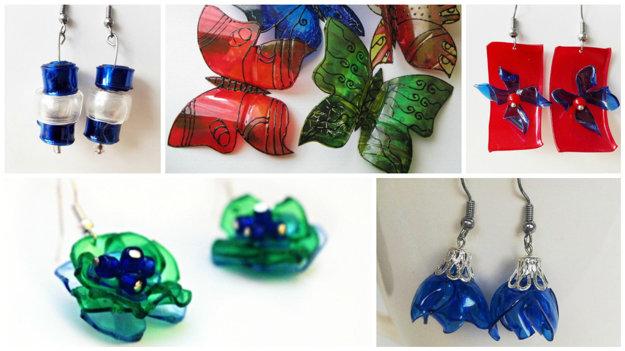 Farebné aj priehľadné PET fľaše môžete využiť na výrobu šperkov.