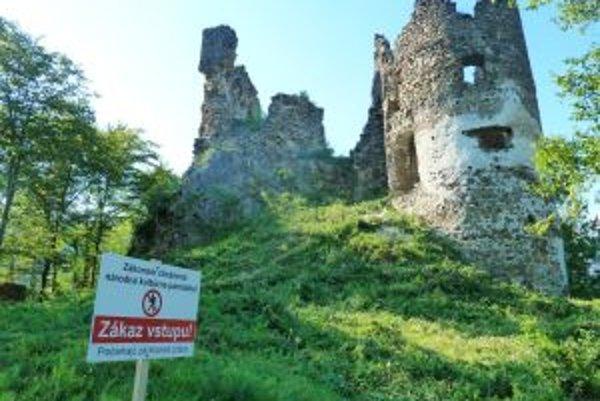 Po páde veľkého kusa hradného múru osadili v areáli zrúcaniny tabule zakazujúce vstup.