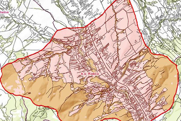 Mapa katastru Rabče.