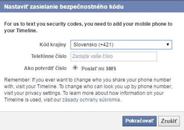 Návod na dvojfaktorové zabezpečenie Facebooku č.5.