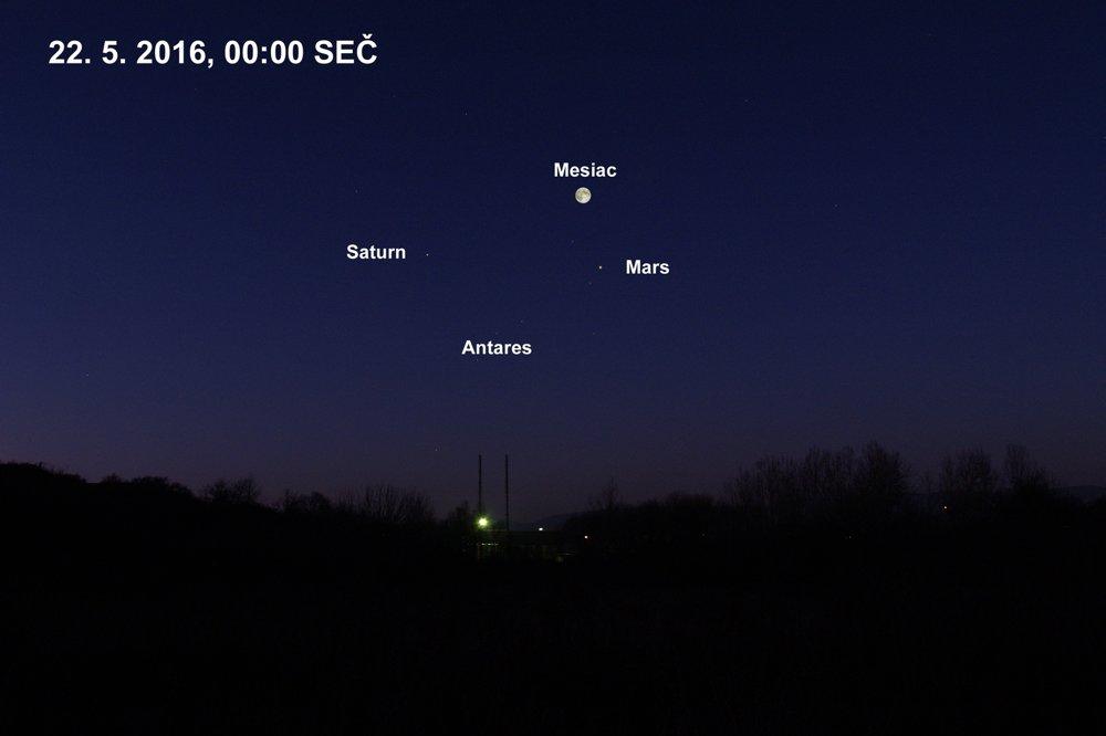 Mars na večernej oblohe v čase opozície, 22. mája