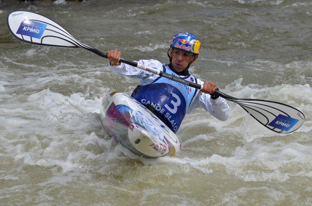 Jana Dukátová počas finále K1 na ME vo vodnom slalome.