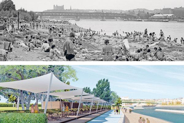 Prírodné kúpalisko Lido v auguste 1962 a jeden z návrhov