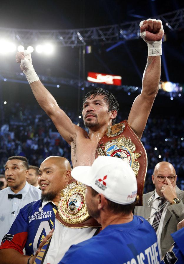 Manny Pacquiao naposledy boxoval 9. apríla a po víťazstve nad Timothym Bradleym sa stal šampiónom organizácie WBO vo welterovej váhe.