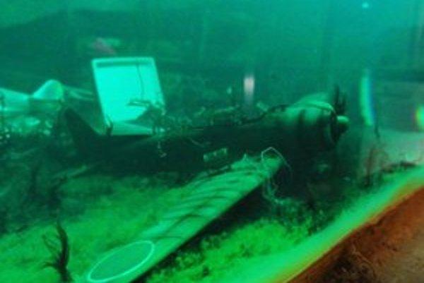 Havarovaný bombardér v šampónovom akváriu.