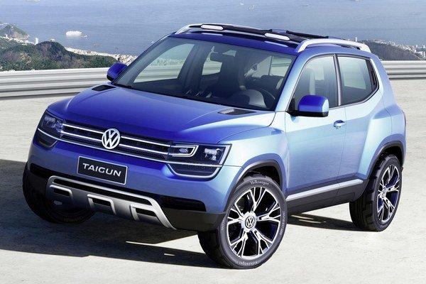 Koncept VW Taigun na zväčšenom podvozku modelu Up predstavil Volkswagen v roku 2012.