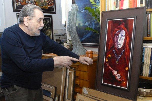 Jeden z variantov portrétu Rigoletta. Istý čas T. Gáll chodil tvoriť do divadelných šatní.