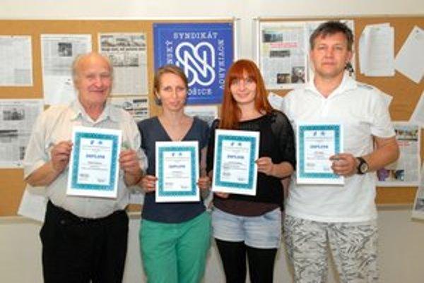 Štvorica víťazov. Zľava Vladimír Mezencev, Elena Danková, Veronika Čorňáková a Róbert Bejda.