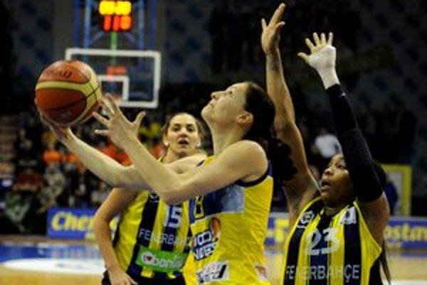 Uprostred hráčka Košíc Lucia Kupčíková, vpravo hráčka Fenerbahce Istanbul Cappie Pondexterová.