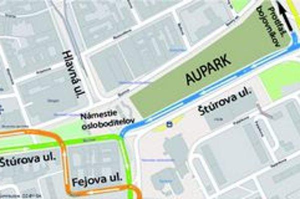 Do protismeru. Z Jantárovej ulice bude možné odbočenie doľava na Štúrovu ulicu.