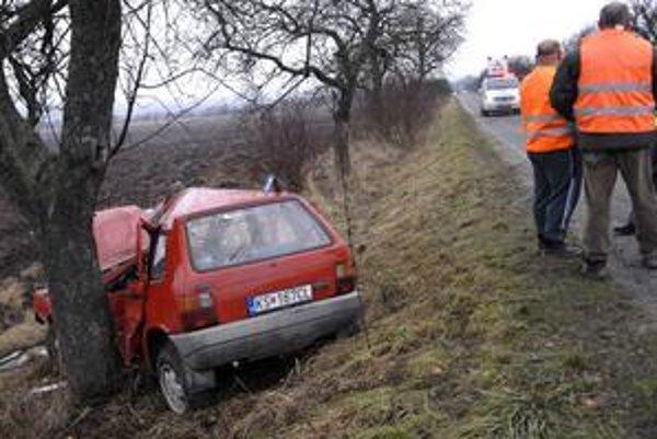 Po nehode. Auto je súce už len do šrotu.