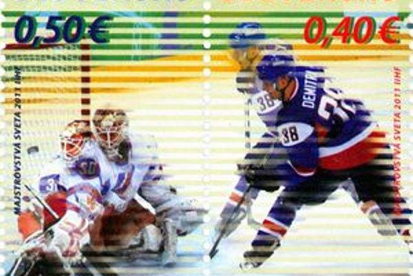Hokejové známky. Vydali ich dnes, na počesť hokejových majstrovstiev.