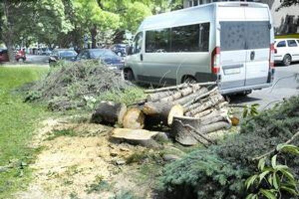 Stromy padli. Na Tatranskej ulici zostali len popílené kmene a konáre.