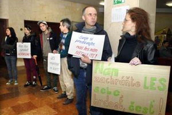 Aktivisti protestovali proti predaju lesa na magistráte koncom októbra.