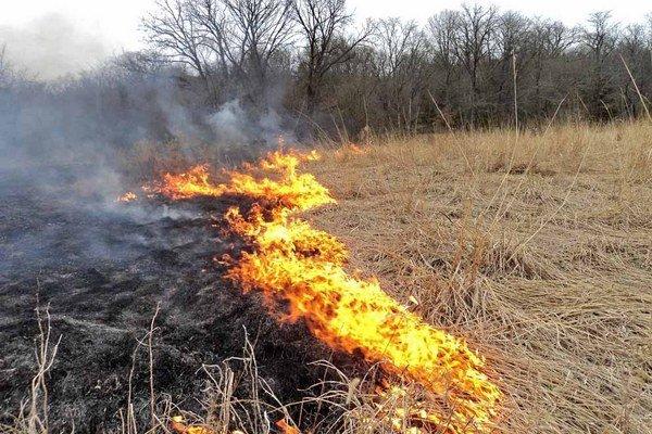 Vypaľovanie trávy. Často sa končí rozsiahlejším požiarom.