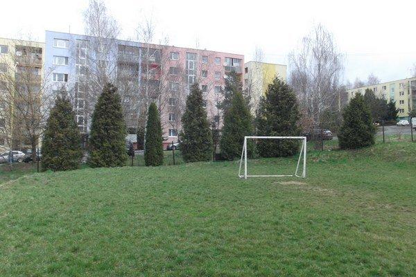 Zelená plocha. Hala má stáť nad školou pri terajšom futbalovom ihrisku.