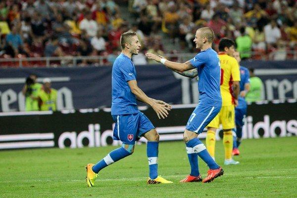 Stanislav Šesták (vľavo). Rád by si už pravidelne užíval radosť v národnom tíme.