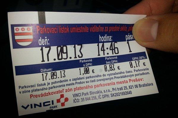 Parkovné lístky.